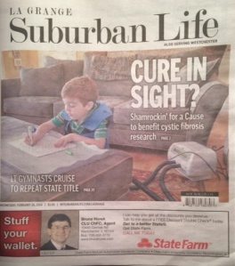 Brady was on the front page of the Suburban Life today (2/26/2014)